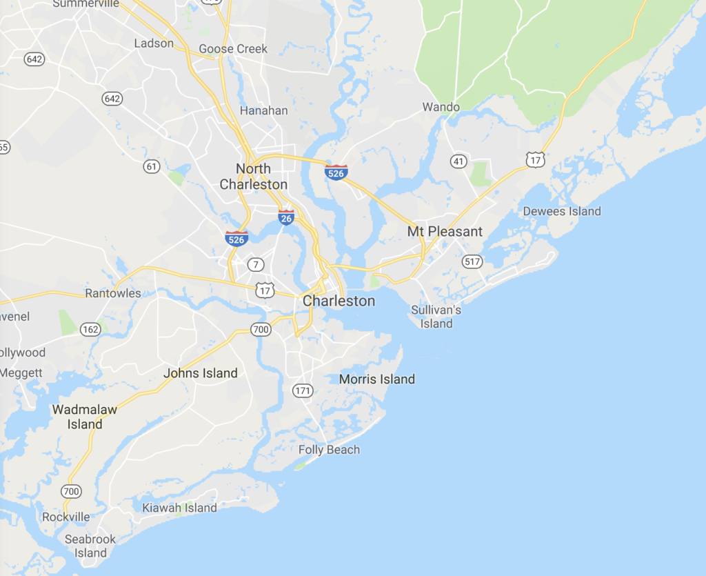 a map of the charleston sc area for aeroseal service