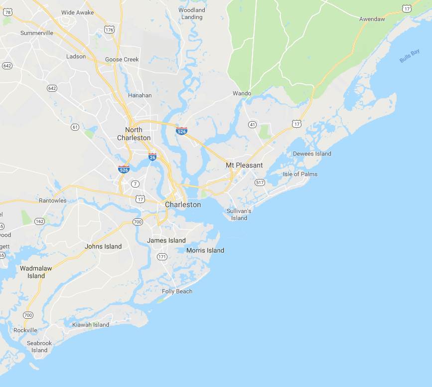 a map of the charleston and mount pleasant areas that we serve duct sealing services to